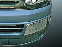 Volkswagen T5 рестайлинг 2010-2015 гг. Углы на передний бампер (2 шт, нерж)