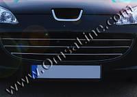 Peugeot 407 2005+ гг. Накладки на решетку (3 шт, нерж)