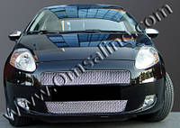 Fiat Punto Grande/EVO 2006+ и 2011+ гг. Накладки на решетку радиатора (2 част., нерж.)