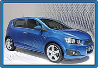 Chevrolet Aveo T300 2011+ гг. Нижние молдинги стекол (нерж) Hatchback