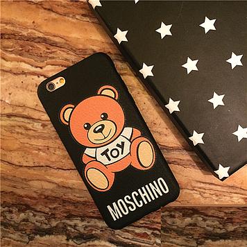 """Iphone 6 / 6S / 6 Plus оригинальный чехол панель бампер накладка текстурированный под кожу """" Moschino """""""