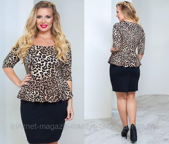 Платье женское полу батал леопард