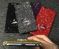 """Iphone 7 / 7 PLUS оригинальный кожаный чехол панель накладка НАТУРАЛЬНАЯ КОЖА стразы """" Christian Louboutin """""""