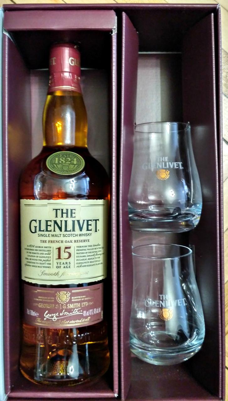 Шотландский односолодовый виски Гленливет / The Glenlivet 15 лет в подарочной коробке с 2-мя бокалами 0,7