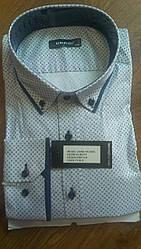Елегантна Чоловіча сорочка полупритал великого розміру DERGI воріт на гудзиках довгий рукав трансформер бата