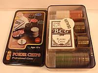 Набор для покера на 80 фишек  в металлической коробке, фото 1