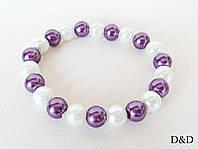 Браслет жемчуг бело-фиолетовый