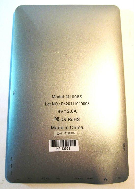 Корпус китайского планшета MID M1006S KPI13521