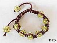 Браслет шамбала желто-коричневый 12 мм