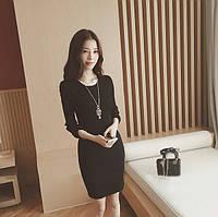 Платье с длинным рукавом  черное