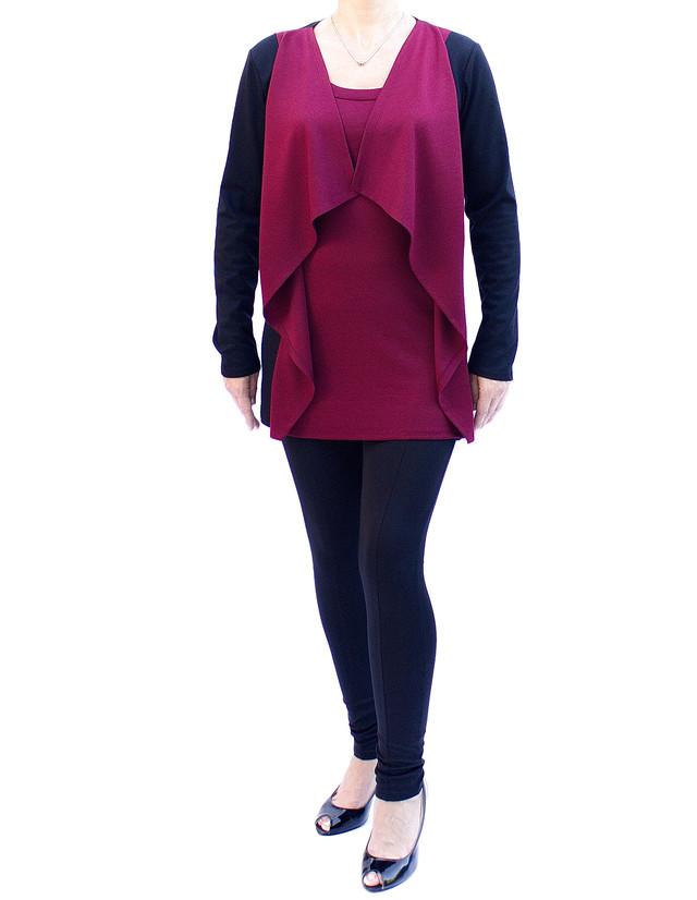 туника-кардиган женская цвет бордо фото teens.ua