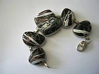 Браслет серебро пейзажная яшма 56 грамм