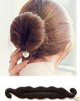 Заколка бублик для волос с жемчужиной Pearl