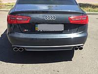 Диффузор заднего бампера S6 на Audi A6 2012 модельного года выпуска. Фото клиента после установки