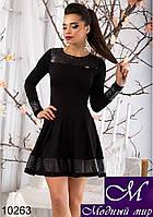 Женское черное платье с перфорацией (р. S,M,L,XL) арт. 10263
