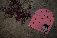 Детская шапочка от рождения до года. Апликация собачка. Розовый цвет.