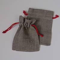 Подарочные мешочки из льна с красным шнурком (13,5х17,5)