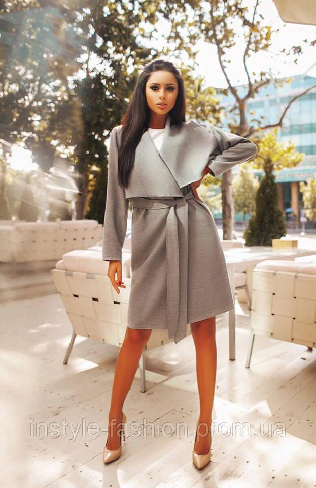 Модное женское пальто кашемировое без карманов серое