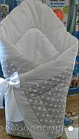 Конверт-одеяло на выписку на липучке с красивым бантом (зимний), 90х90- Горох -полоска