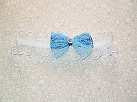 Подвязка для невесты (голубой бантик)