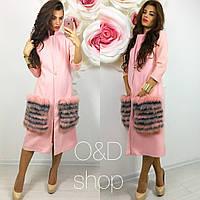 Стильный женский жилет из кашемира с меховыми карманами, розовый
