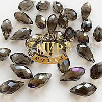 Бусина капля для создания бижутерии 6х12mm Black Diamond AB 1шт