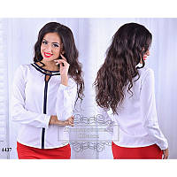 Блуза R-4437 белый+синяя отделка