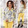 Блуза 1295бат желтый, принт цветы