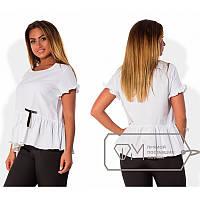 Блуза с оборкой Х4852 белый