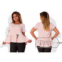 Блуза с оборкой Х4852 розовый
