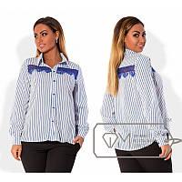 Рубашка отделка гипюр Х4877 синяя полоска