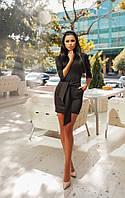 Женское платье французский трикотаж с карманами и поясом цвет кофе