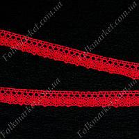 Кружево льняное 2 см красное