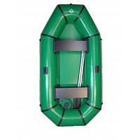 Лодка ПВХ 2 местная, 240*125 см, надувное дно, сидения, 2 весла, насос, зеленая, с ручками