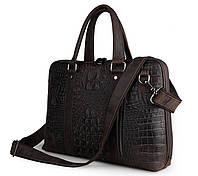 Кожаная сумка для ноутбука коричневая