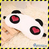 """Маска для сна """"Панда - сердечки""""."""
