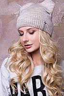 """Женские шапочки зима """"Дарина"""" с круглыми ушками на флисе.  беж"""