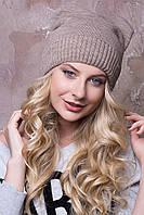 "Женские шапочки зима ""Дарина"" с круглыми ушками на флисе.  темный беж"