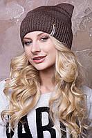 "Женские шапочки зима ""Дарина"" с круглыми ушками на флисе.  коричневый"