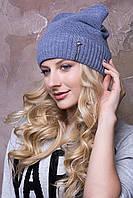 "Женские шапочки зима ""Дарина"" с круглыми ушками на флисе.  джинс"