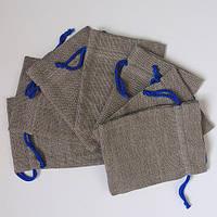 Подарочные мешочки из льна с синим шнурком (13,5х17,5)