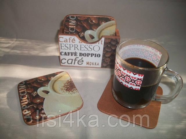 Набор подставок под чашки в кофейных тонах