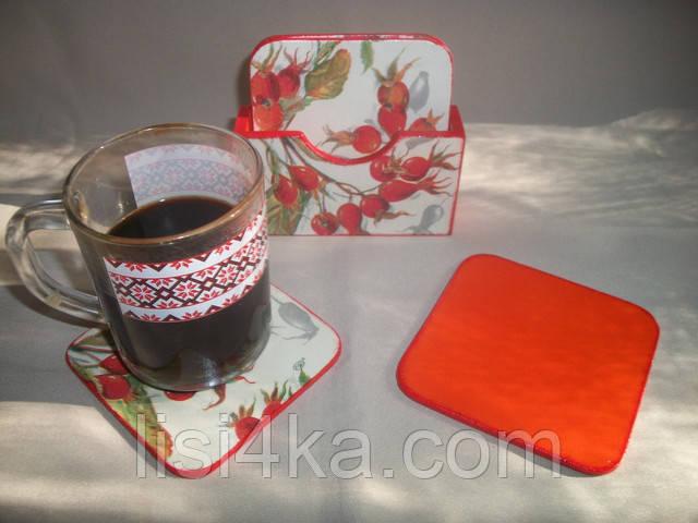 Набор подставок под чашки с ярким шиповником