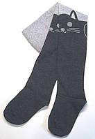 Трикотажные колготки для девочек серые с темно-серым котом