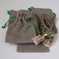 Подарочные мешочки из льна с зеленым шнурком (13,5х17,5)