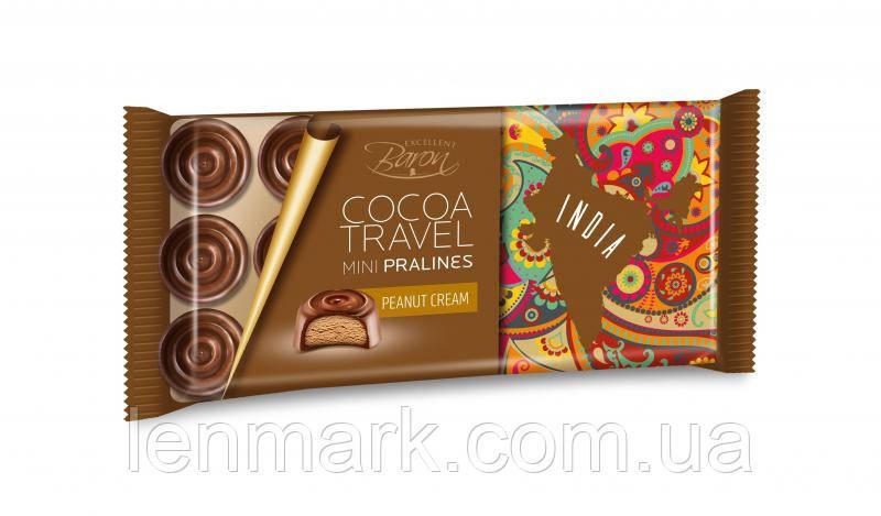 Шoколад Baron Excellent Cocoa Travel Mini Pralines Peanut cream INDIA с арахисовой пастой 100г