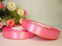 Атласная лента 1.2 см, с золотистым люрексом, розовый