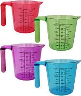 Мерный стакан 1.0л пластиковый (салатовый, голубой, розовый, фиолетовый) Kamille