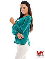 Элегантная зеленая блузка рукав внизу на резиночке, декорирована бантиком