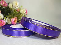 Атласная лента 1.2 см, с золотистым люрексом, фиолетовый